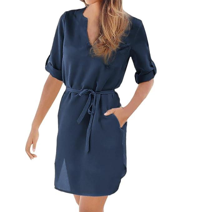 Vestido de Dobladillo Irregular para Mujer,Vestido de Playa de Encaje con Cuello