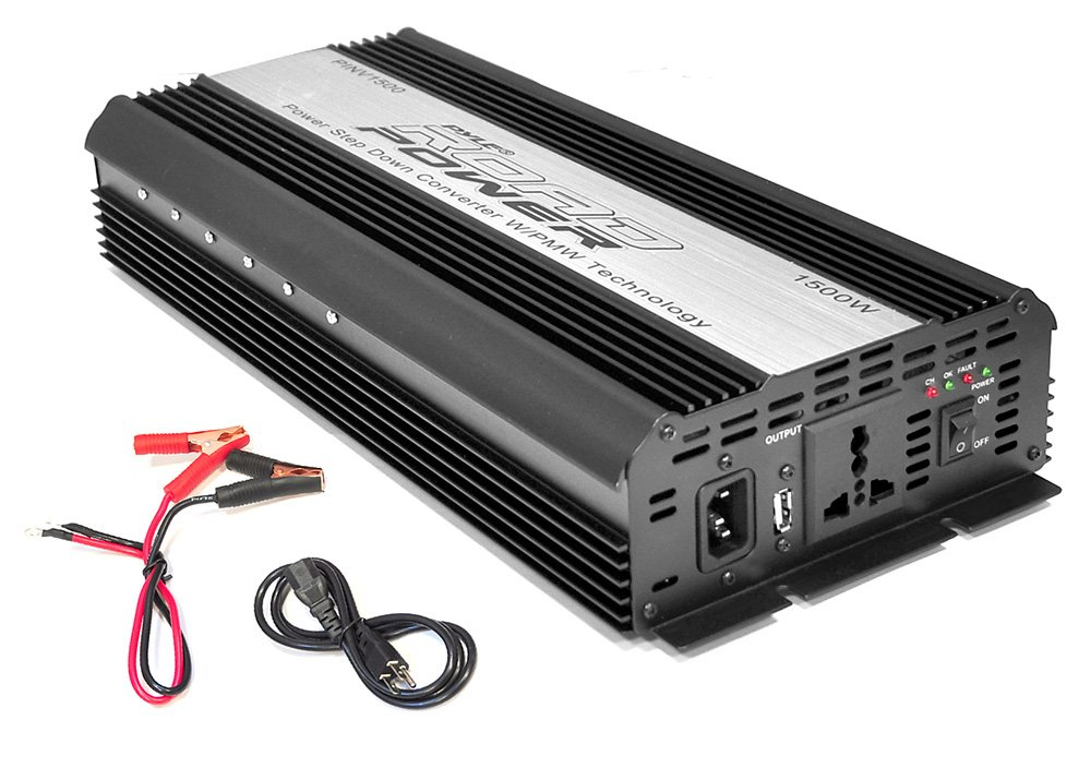 Pyle PINV1500 Plug In Car 1500 Watt 12V DC to 115 Volt AC Power Inverter with USB Outlet
