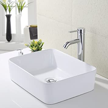 KES Bathroom Vessel Sink and Faucet Combo Bathroom Rectangular White ...