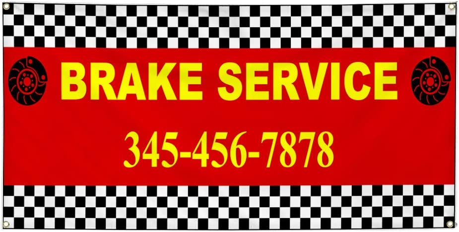 Custom Industrial Vinyl Banner Multiple Sizes Brake Service Style I Personalized Text Here Automotive Outdoor Weatherproof Yard Signs Yellow 10 Grommets 48x120Inches