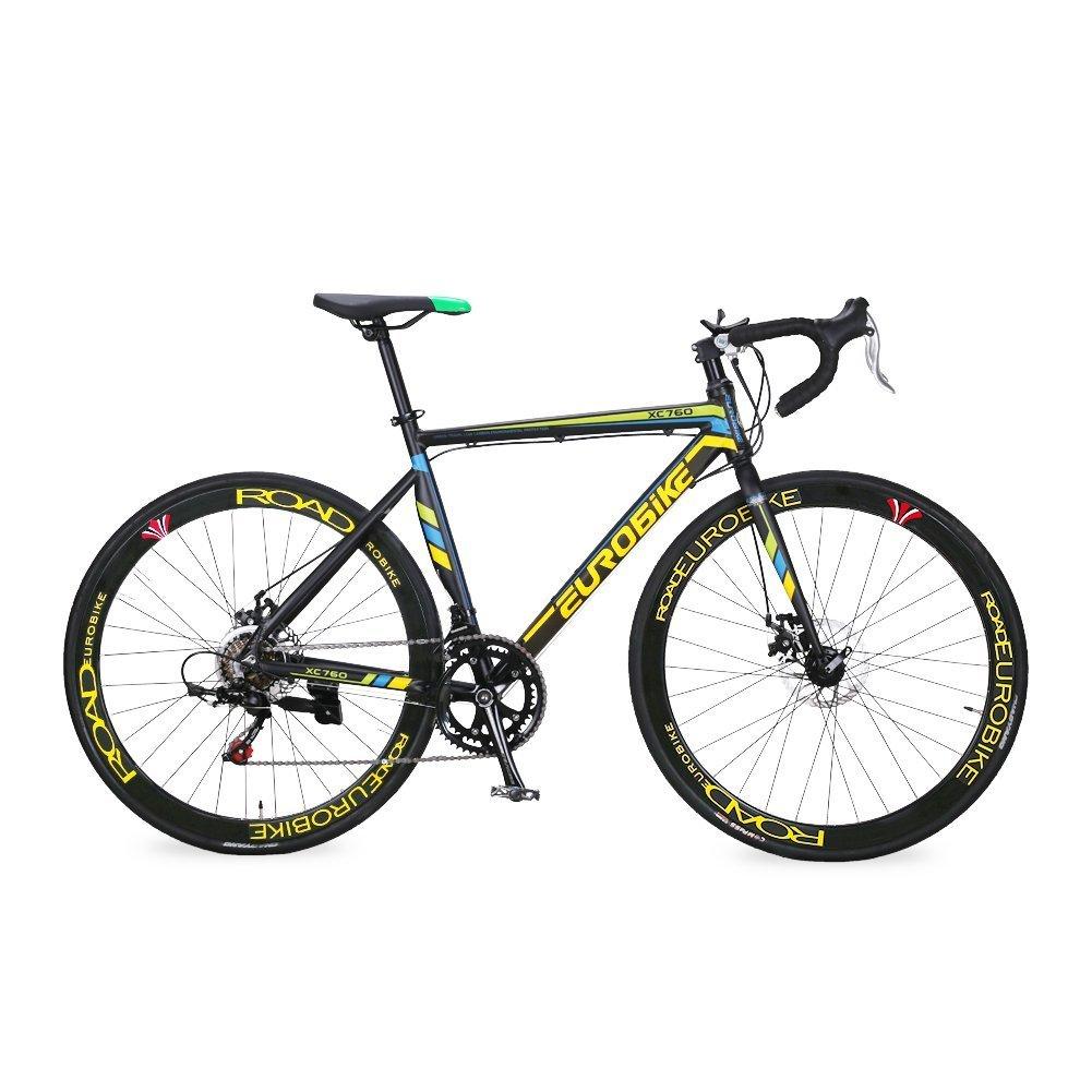Extrbici XC760 自転車 ロードバイク シマノTZ-50 14段変速 ロードバイク アルミフレーム 700C ディスクブレーキ 中古品 B07D1NXV2Mイエロー