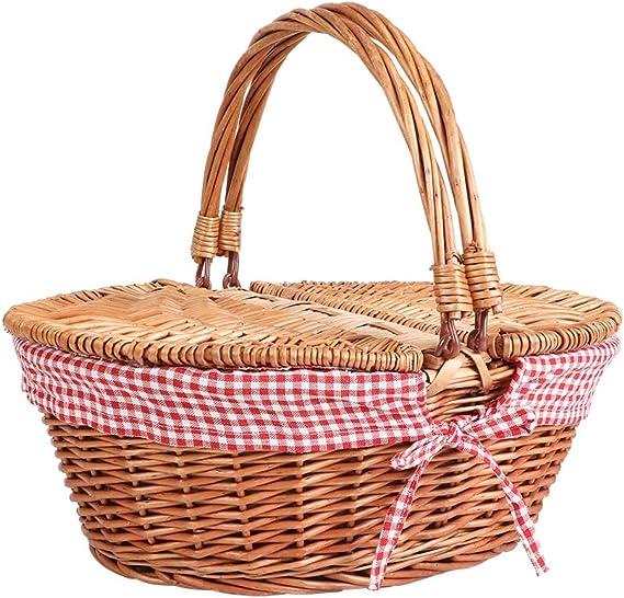 Display4top Cesta de mimbre de picnic de estilo campestre