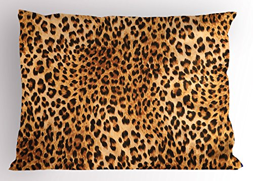 Lunarable Animal Print Pillow Sham, Wild Animal Leopard Skin Pattern Wildlife Nature Inspired Modern Illustration, Decorative Standard Size Printed Pillowcase, 26 X 20 Inches, Sand (Wild Animals Sham)