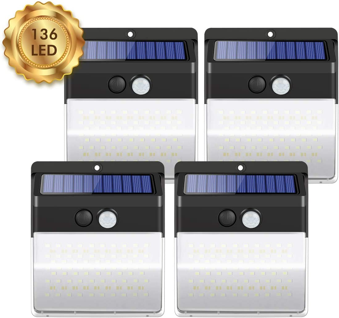 Solar Light Outdoor 136 LEDs, Coastacloud Wireless Waterproof Security Solar Motion Sensor Lights 270 Wide Angle Lighting for Garage, Step, Yard, Deck, Pathway, Porch, Garden, Fence 4-Pack