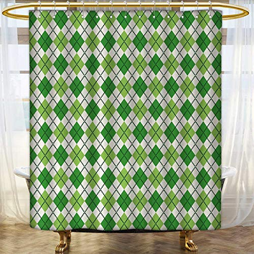 Anhounine Irish Fabric Shower Curtains Classical Argyle Diamond Line Pattern with Crosswise Lines Old Fashioned Patterned Shower Curtain 66