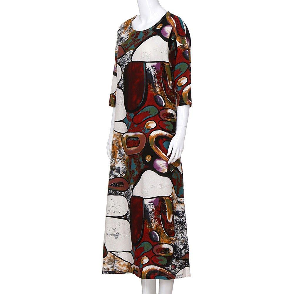 18d3f0205 ... POTO Women Dresses Plus Size, 3/4 Sleeve Floral Boho Pockets Long Maxi  Dress ...