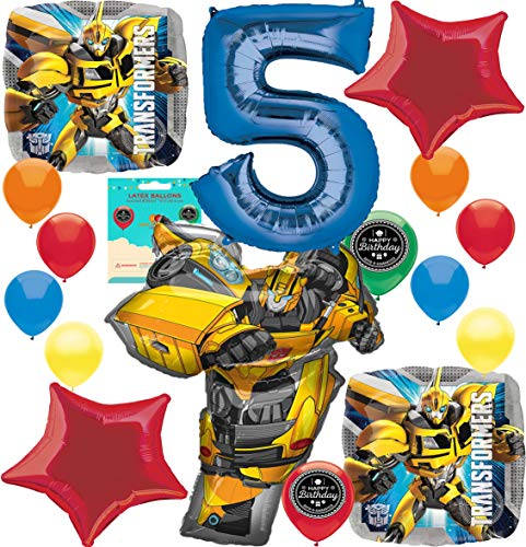 Transformer Party Invites (Bumble Bee Party Supplies (Choose Your Own Age) Birthday Balloon Decoration Bundle for (5th)