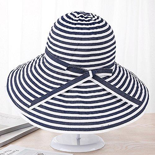 Summer Hat Korea Fresh Wide Striped Ribbon Hat Sunscreen Folding Beach Cap Big Sun Hat,Navy Blue,M (56-58cm)