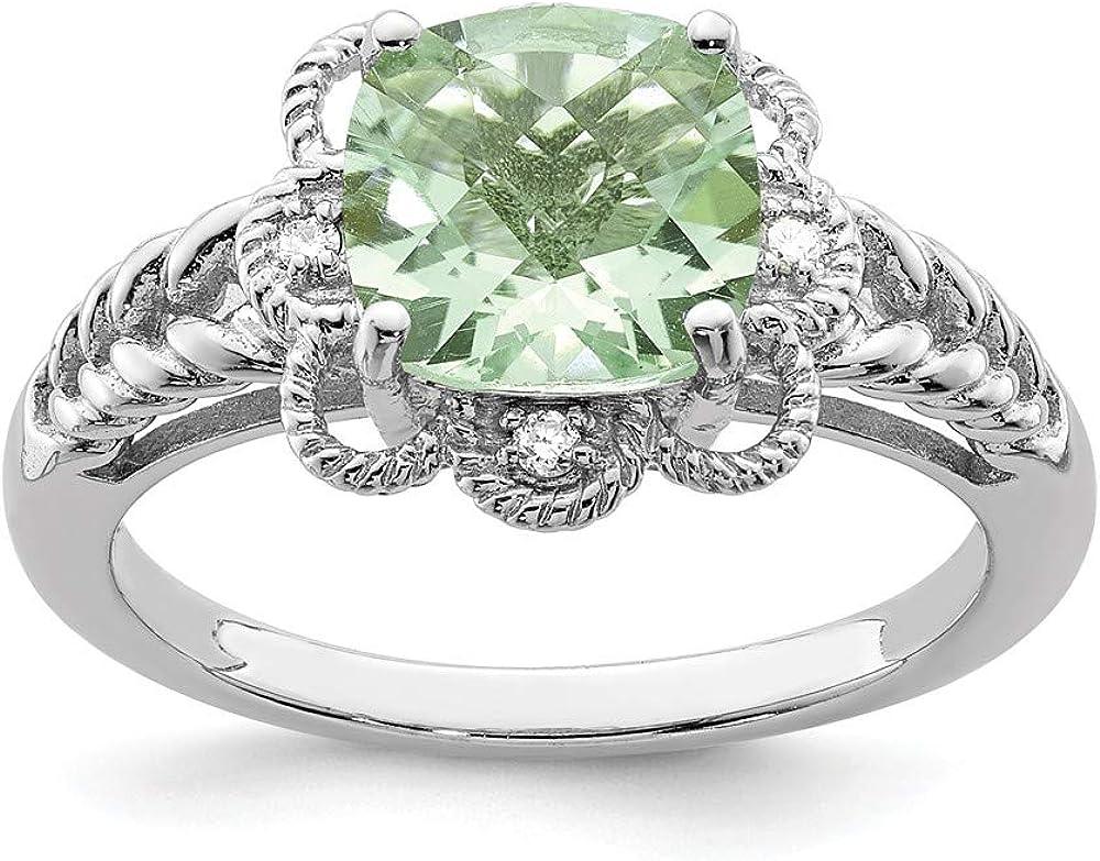 Solid 925 Sterling Silver Checker-Cut Green Simulated Quartz /& Diamond Ring 2mm