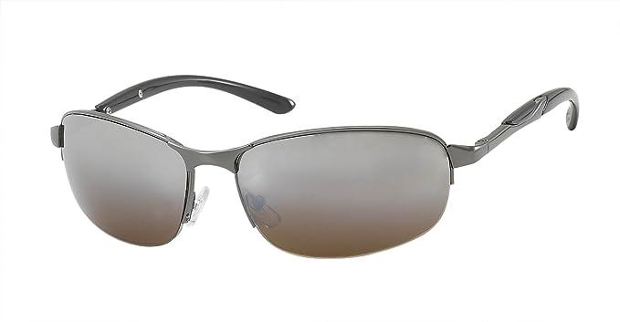 Chic-Net Sonnenbrille Herren Designer Freizeitbrille verspiegelt 400UV Bügel Muster schmal silber braun PkbxI
