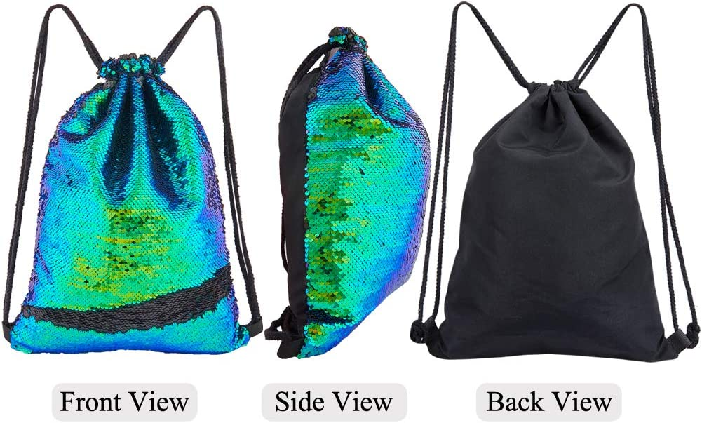 Play Tailor Sequin Drawstring Bag Flip Sequins Backpack Outdoor Sports Bag Dance Bag