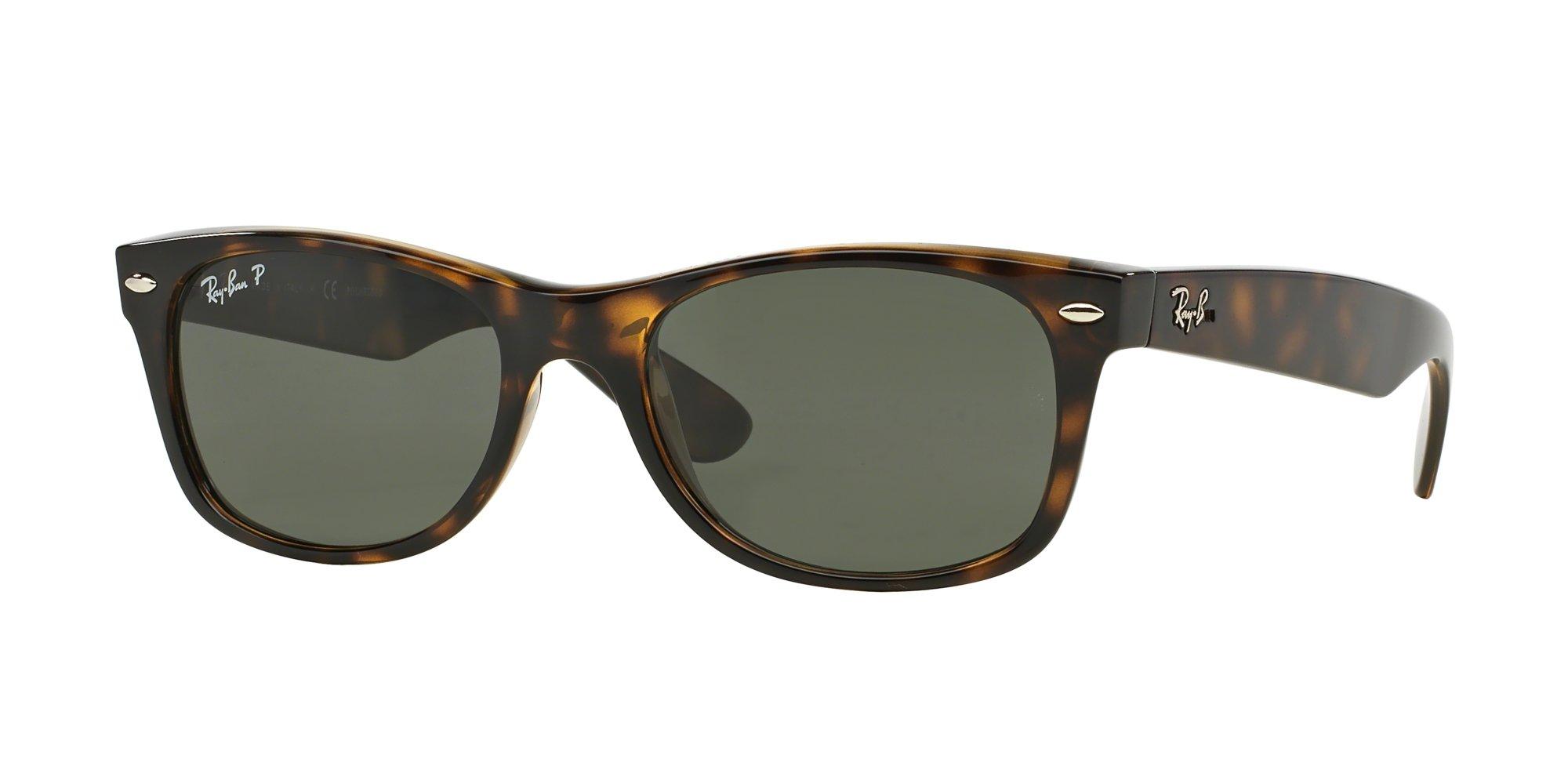 Ray-Ban RB2132 NEW WAYFARER 902/58 55M Tortoise/Crystal Green Polarized Sunglasses For Men For Women