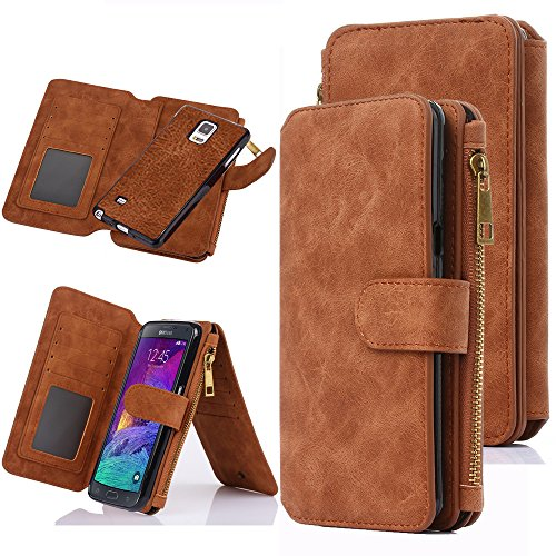 Price comparison product image Galaxy Note 4 Case, Note 4 Case, CaseUp 12 Card Slot Series - [Zipper Cash Storage] Premium Flip PU Leather Wallet Case Cover With Detachable Magnetic Hard Case For Samsung Galaxy Note 4 - Brown