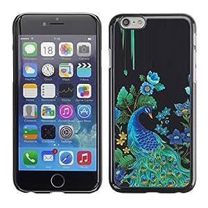 Cubierta de la caja de protección la piel dura para el Apple iPhone 6 (4.7) - peacock bird floral rye feathers blue