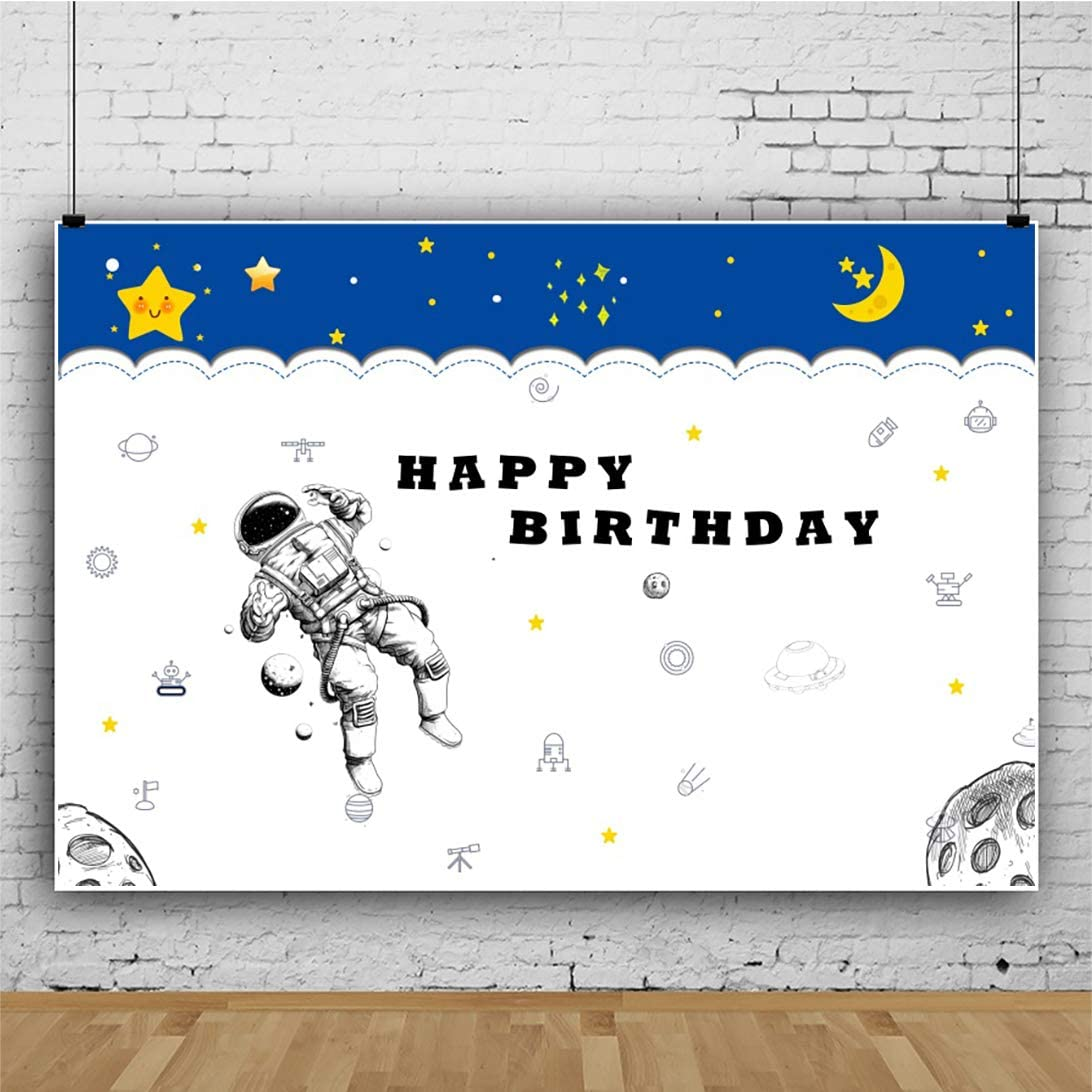 YEELE 7x5ft Cartoon Astronaut Backdrop Boys Birthday Party Photography Background Black and White Style Birthday Baby Girl Boy Daughter Artistic Portrait Photobooth Props Digital Wallpaper