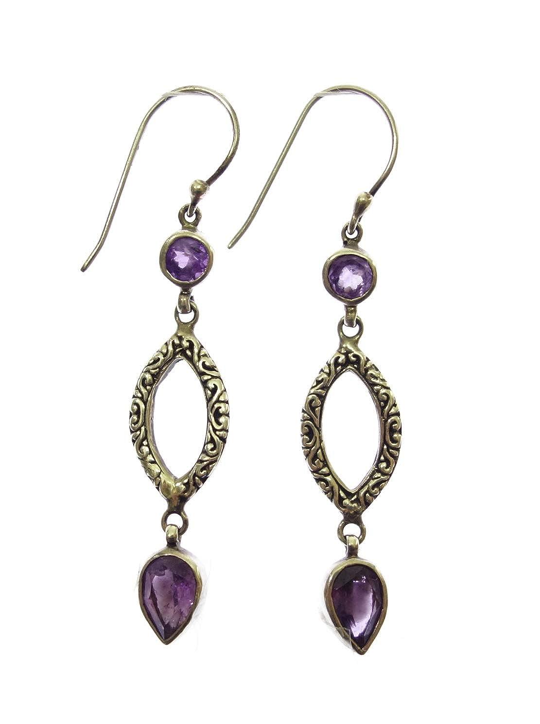 Amethyst sterling silver earrings  amethyst and tanzanite earrings  Tanzanite silver earrings  February birthstone earrings  handmade