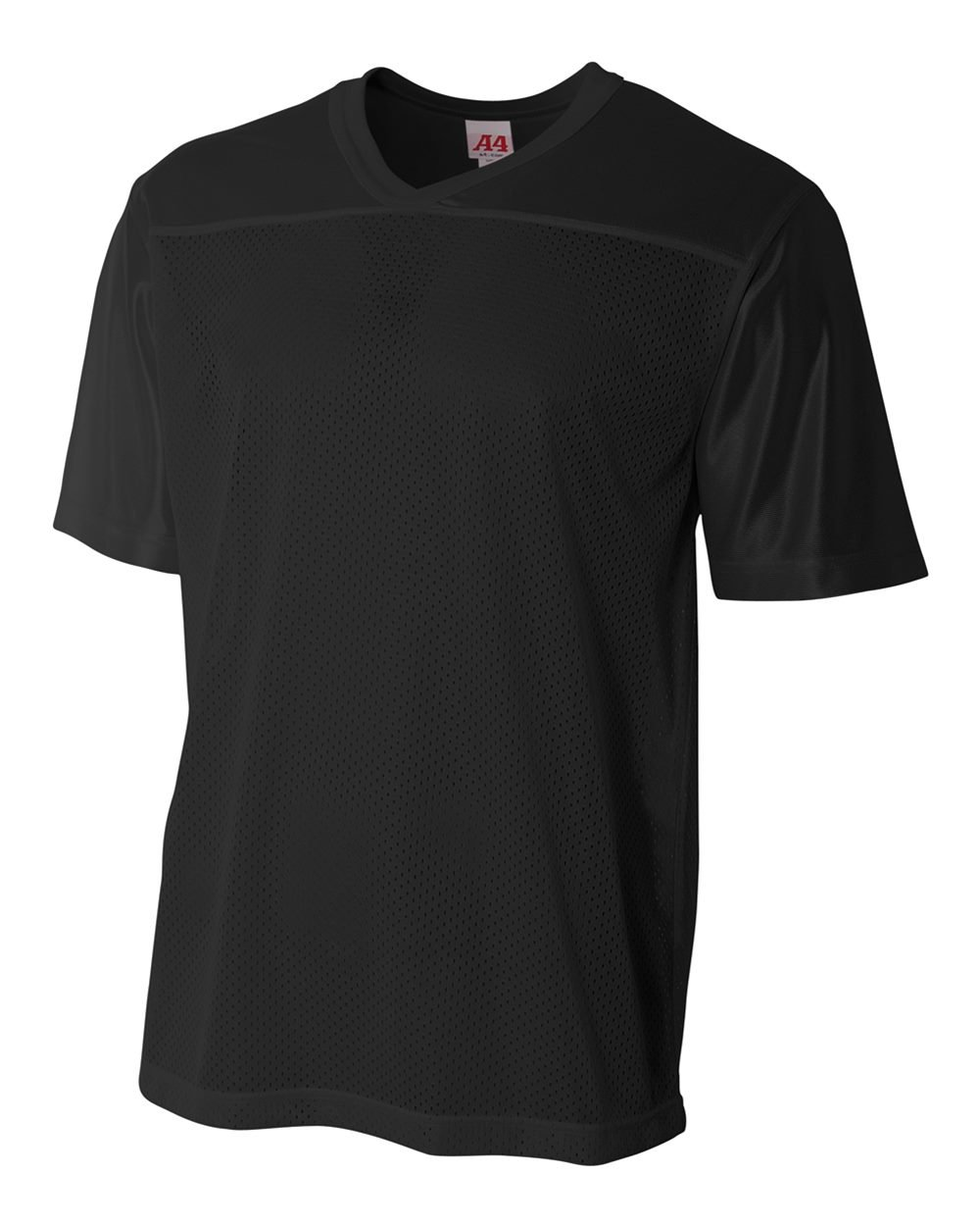 Adult Black 2X (Blank Back) Moisture Wicking V-Neck Football Jersey