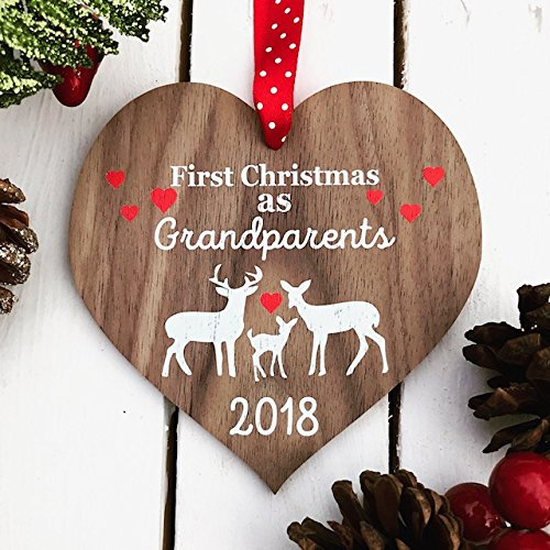 new grandparents first grandparents christmas christmas gift grandparent gift personalised christmas decoration bauble - Christmas Present Decoration