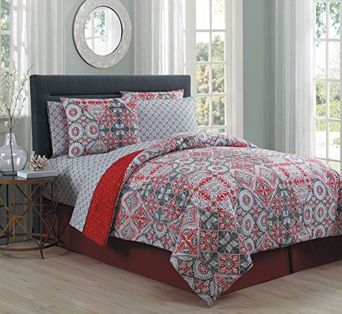 Price comparison product image Avondale Manor Minerva 8 Piece Bed in A Bag Set, Red, King