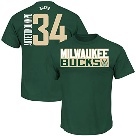 fd3bd24e8 Giannis Antetokounmpo Milwaukee Bucks  34 NBA Men s Vertical Player T-shirt  (Small)