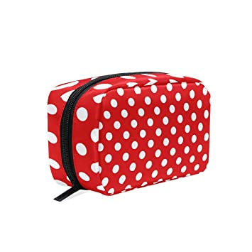 81dfef072a65 Amazon.com   Makeup Organizer Rectangular Red White Polka Dot Womens Zip Toiletry  Bag Large Case Cosmetic Bags   Beauty