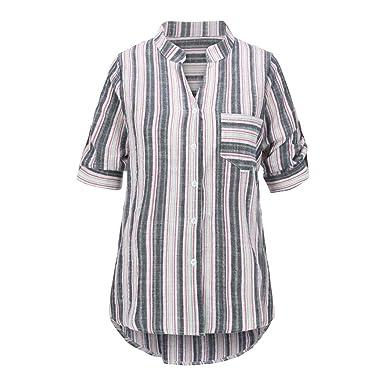 Gusspower Mujer Blusa Camisa Estampado a Rayas de Manga Larga ...