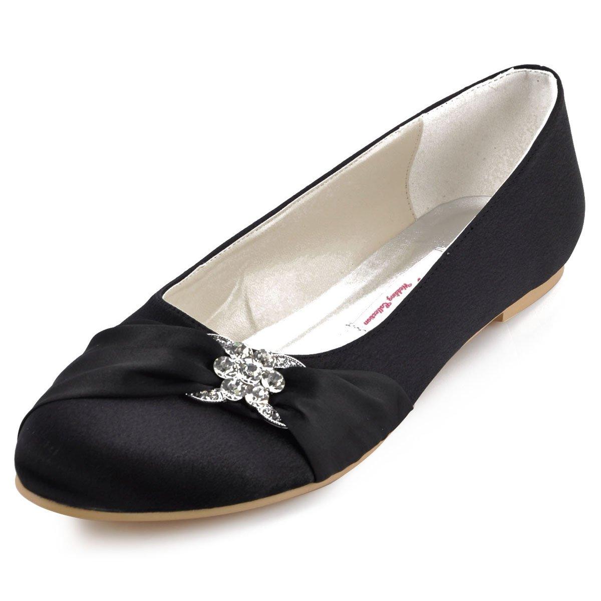 Elegantpark EP2006 Arc Satin Bout Ferme Arc EP2006 Glitte Plates Femme Chaussures de Mariage 41 EU|Noir e816b5