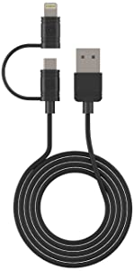 Cellet 2 in 1 Micro USB + Lightning Charging Data Sync Cable (Apple MFI Certified) for Android and Apple Devices - Retail Packaging - Black