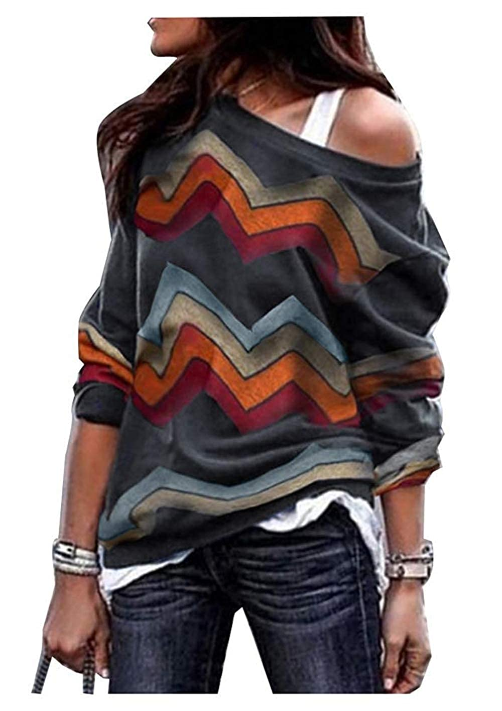 A-LING Womens Zig Zag Sweater Long Sleeve Chevron Pattern Knitted Shirts Tops