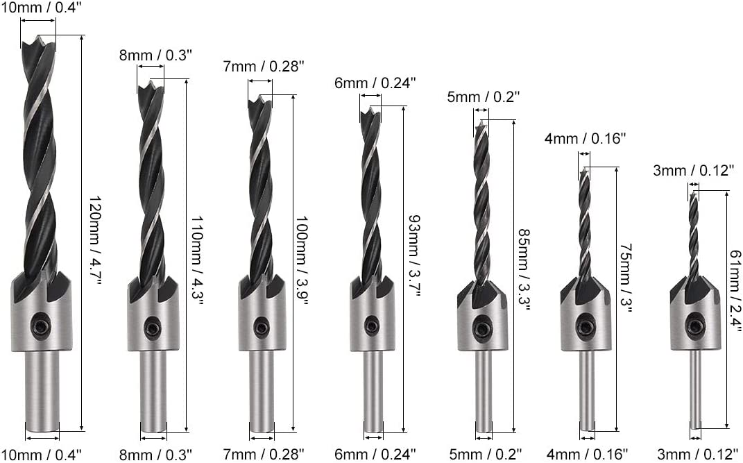 sourcing map Countersink Drill Bits for Wood 3mm to 10mm Adjustable Reamer with Hex Wrench for Punch Tool Woodworking Carpentry DIY HSS 7in1 Set