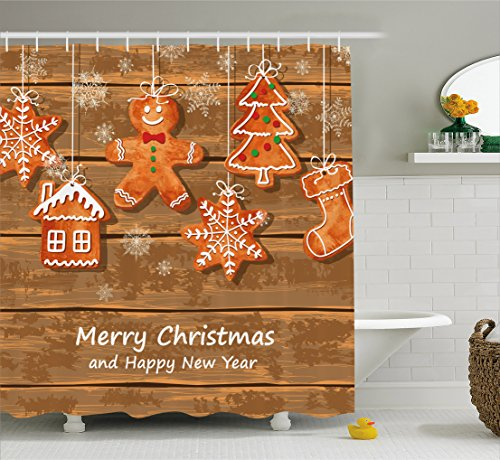 Ambesonne Gingerbread Man Shower Curtain, Funny Watercolor Cookies on Wooden Boards Delicious Xmas Pastry, Fabric Bathroom Decor Set with Hooks, 70 Inches, Brown Orange White