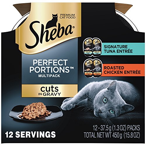 *SHEBA Perfect PORTIONS Multipack Cuts in Gravy Signature Tuna and Roasted Chicken EntrÃe Wet Cat Food 2.6 oz. (6 Twin Packs)