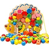 HLJgift Wooden Fruits and Vegetables Lacing & Stringing Beads Toys with Hedgehog Board for Above 3 Years Old Kids