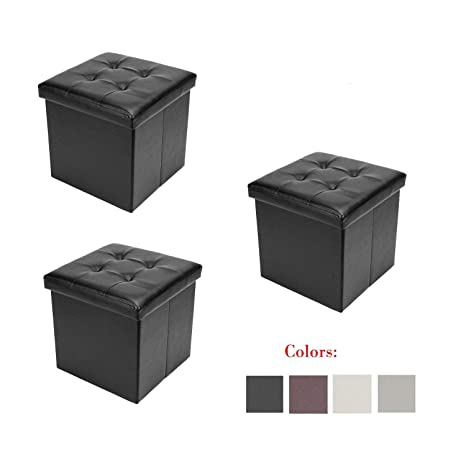 Phenomenal Bonnlo 3 Pcs 12 Faux Leather Folding Storage Ottoman Cube Bench Foot Rest Seat Coffee Table Black Bralicious Painted Fabric Chair Ideas Braliciousco