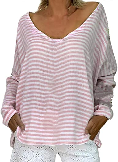 YEBIRAL Camisetas Mujer Manga Larga Tallas Grande Casual Moda CóModo Suelto Originales Básica Rayas Básica Tops Blusas Camiseta Camisa(2XL, Rosa): Amazon.es: Ropa y accesorios