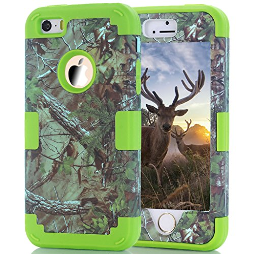 (iPhone SE Case, 5s Case, HOcase Camouflage Series, Durable Silicone Bumper and Hard Polycarbonate Shock & Scratch Resistant Case for iPhone SE, iPhone 5s/5 - Camo+Lawn Green)