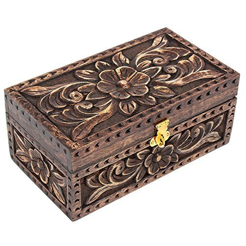 Rustic Handmade Wooden Jewelry Keepsake Trinket Storage Memory Box with Floral Design for Home D cor
