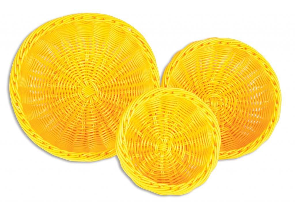 Colorbasket 51101-207 Hand Woven Waterproof Bowl Food Basket, BPA Free, Sunshine Yellow, Gift Box, Set of 3