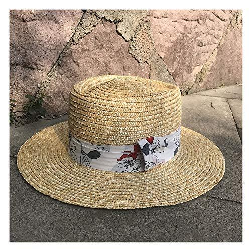 - YUXUJ Sun Hat Summer Men Straw Hat Classic Panama Cap Wide Cloth Decorative Feather Ladies Sunscreen Hat (Color : 7, Size : 56-58CM)