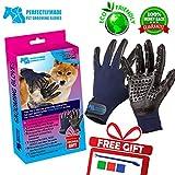Pet Grooming Gloves - Medium Size Deshedding and Massaging...
