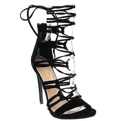8707fd867b75 Shoe Republic LA Open toe Sandal Strappy Stiletto High Heels Lace up Pumps  Women s shoes black