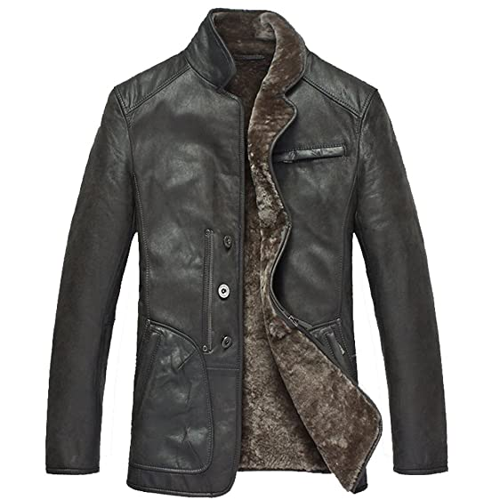 Cwmalls Men's Shearling Leather Jacket (X-Large) at Amazon Men's ...