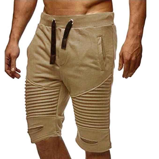 ♚Pantalones Cortos Hombres Pantalones de chándal, Pantalones de Cintura elástica Pantalones Cortos Holgados de