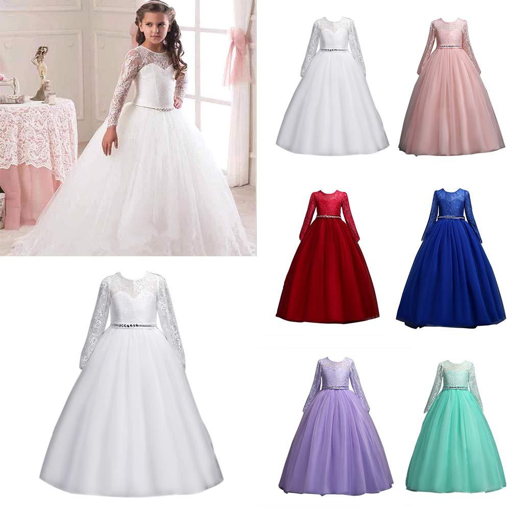 Opeof Children Kids Gown Formal Dress Wedding Young Flower Girl Long Princess Costume