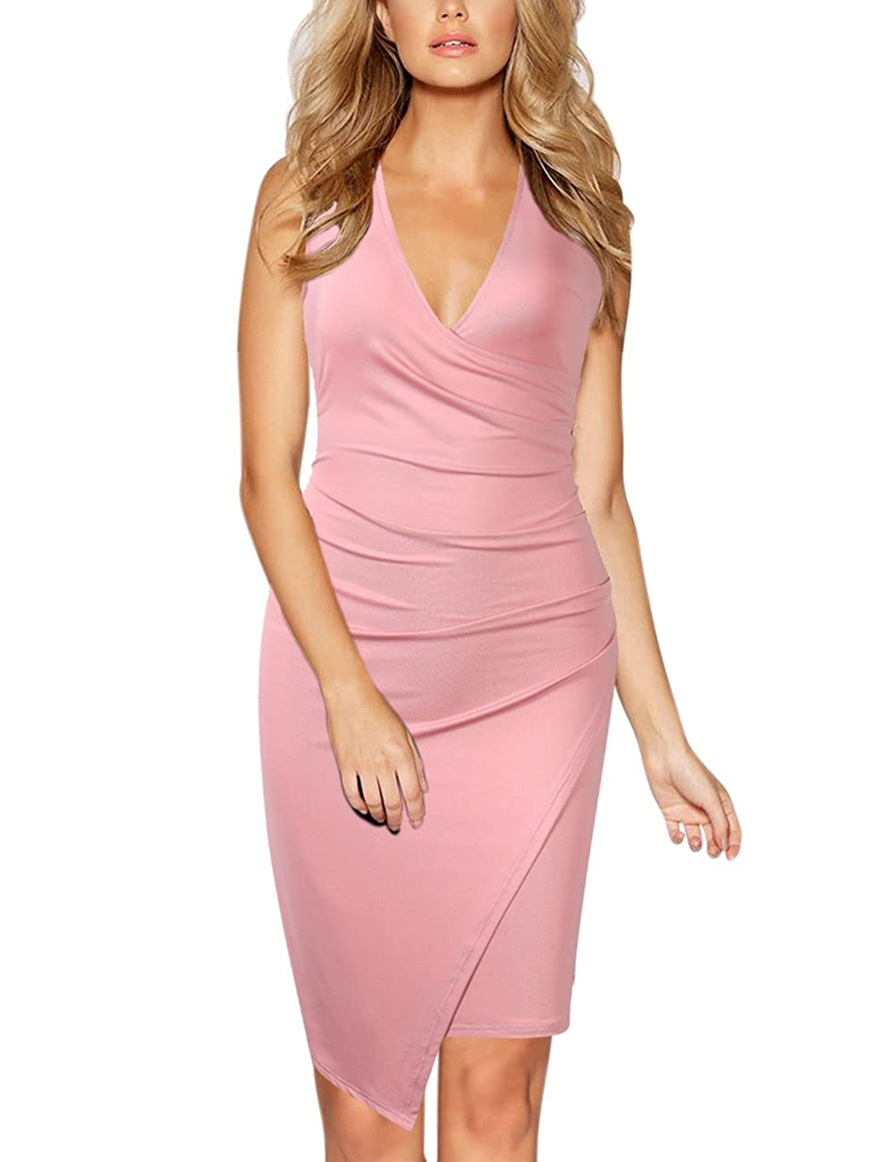 Pink GlorySunshine Women's Sleeveless V Neck Faux Wrap Ruched Midi Bodycon Cocktail Pencil Dress