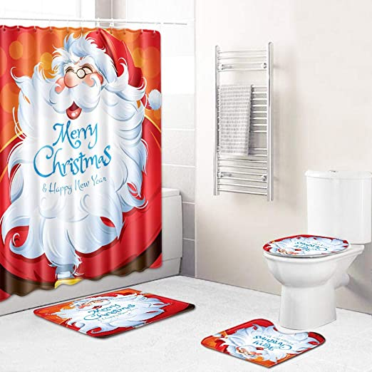 Christmas Elk Snow Scene Shower Curtain Floor Mat Bathroom Toilet Seat Set