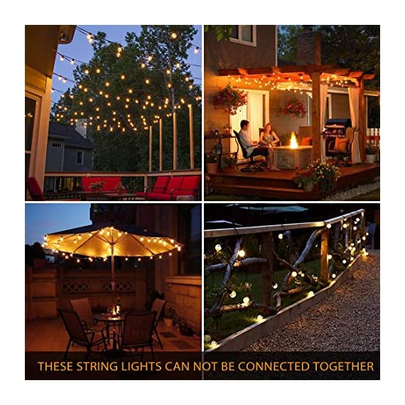 Novtech LED Outdoor String Lights 38.5FT 30Bulbs G40 Globe String Lights - Waterproof Patio String Lights Outdoor Decorative String Lights for Backyard Bistro Porch Garden Cafe Party - UL Standard - Do you like Italian Style Bistro? Let's Change Your Backyard into Italian Bistro with the Patio String Lights - Lighting up a bunch of Novtech outdoor led string lights, enjoy delicious barbecue and beer under warm lamplight with your friends! Hold an Italian amorous party at your own home! Come on and invite your friends! Please note: these bistro lights are not dimmable and can not be connected. Safe & Reliable LED Outdoor String Lights - UL listed G40 Globe String Lights, quality and safety are 100% reliable. Solid 20AWG wire core inside to prevent the LED string lights from getting overheat after long time usage. Low voltage outdoor garden string lights are safer than high voltage outdoor globe string lights, no worry about security issues. Economical Energy Saving LED Porch Lights - 3.3W low power LED string lights can decorate your yard but save you money on your electric bill at the same time. LED light bulbs have a longer lifespan than any other osram lamp. Confidently leave these LED patio string lights on display all year round! Let the backyard string lights guard your home! - patio, outdoor-lights, outdoor-decor - 61I4brSrarL. SS570  -