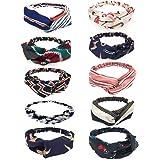 RALDE 10 pieces Women Headbands Scarf Turban Head wraps Hair Band Bows Accessories for Fashion Or Sport