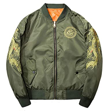 cff6f6141 Henreiba Mens Embroidery Bomber Jacket Chinese Style Aviator Jacket Army  Green S