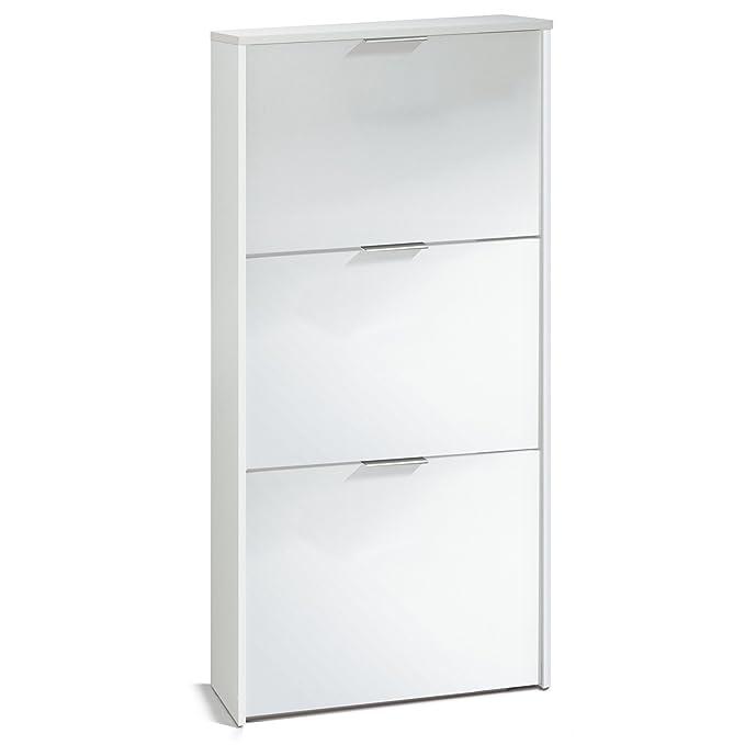 Habitdesign Zapatero con 3 Puertas Capacidad 18 Pares, Blanco Brillo, 113 x 60 x 22 cm